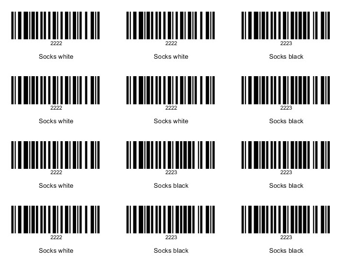 Bar Code For Each Item