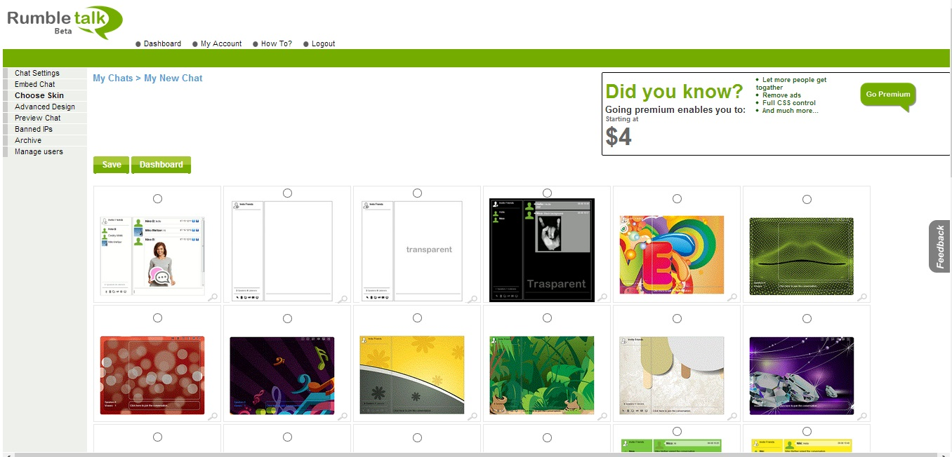 RumbleTalk screen dashboard