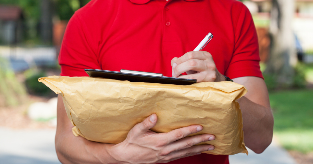 Delivery Guy Does His Paperwork